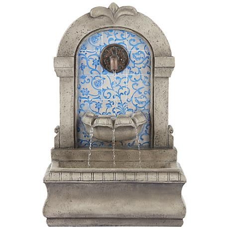 """Manhasset30 1/4"""" High Stone and Blue Outdoor Wall Fountain"""