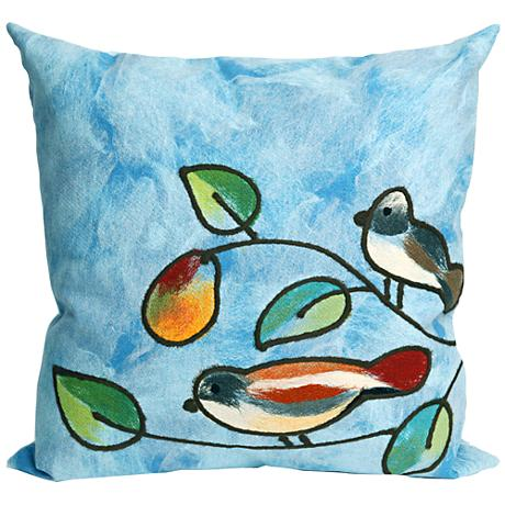 """Visions III Song Birds Blue 20"""" Square Outdoor Throw Pillow"""