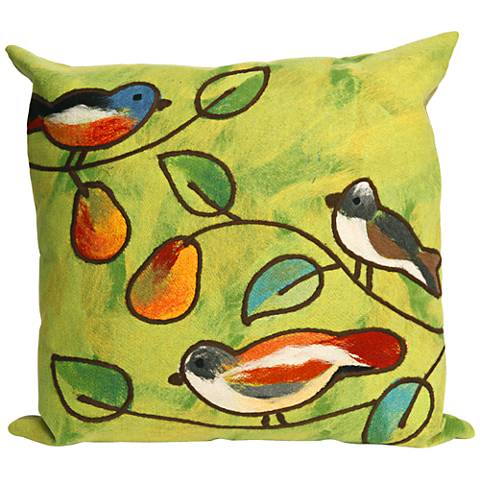 "Visions III Song Birds Green 20"" Square Outdoor Throw Pillow"