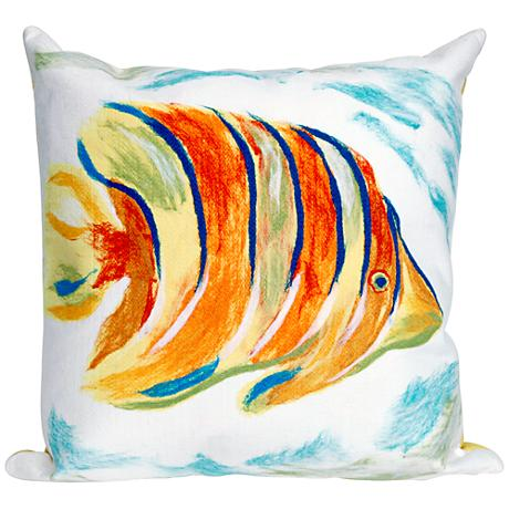 """Visions III Angel Fish Pearl 20"""" Square Outdoor Throw Pillow"""