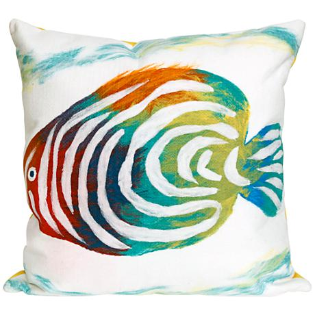 """Visions III Rainbow Fish Pearl 20"""" Square Outdoor Pillow"""