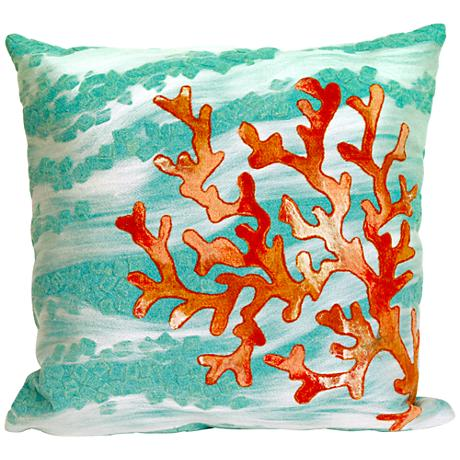 "Visions III Coral Wave Aqua 20"" Square Outdoor Throw Pillow"