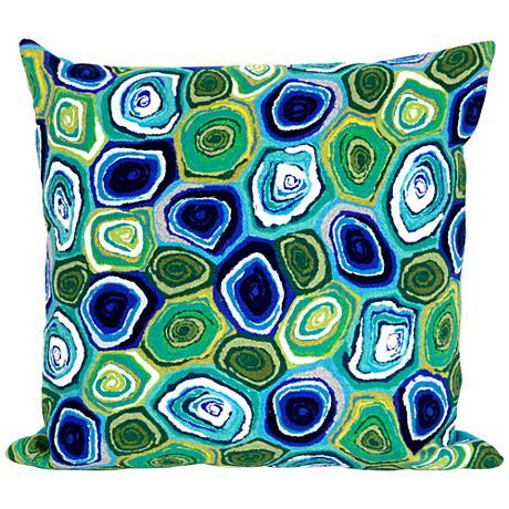 "Visions III Murano Swirl Caribbean 20"" Square Outdoor Pillow"