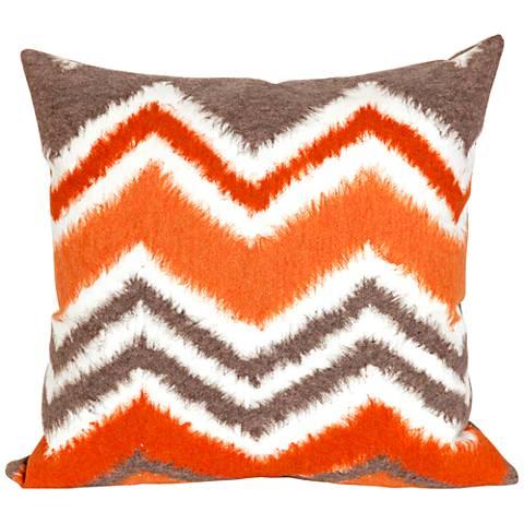 """Visions III Zigzag Ikat Orange 20"""" Indoor-Outdoor Pillow"""
