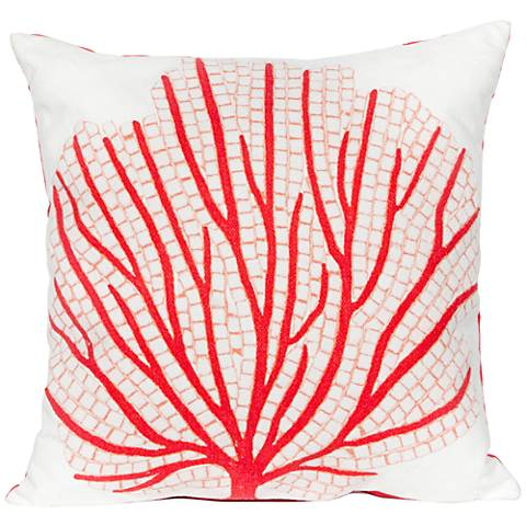 "Visions III Coral Fan Red 20"" Square Indoor-Outdoor Pillow"