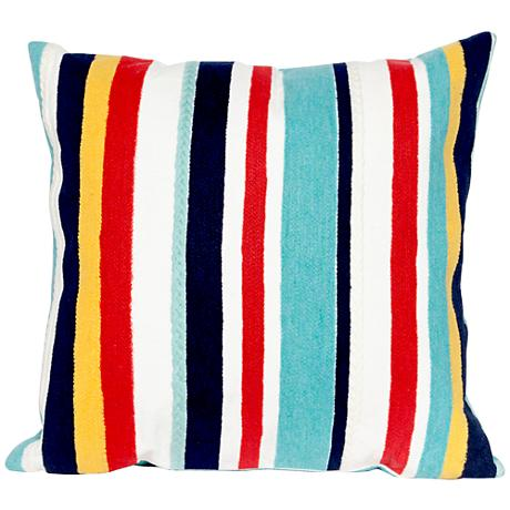 """Visions III Riviera Stripes 20"""" Square Outdoor Throw Pillow"""