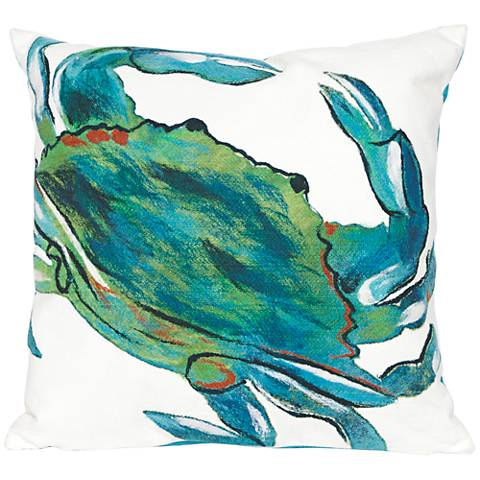 "Visions III Blue Crab Sea 20"" Square Indoor-Outdoor Pillow"
