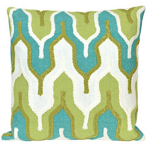 """Visions III Crochet Tower Green 20"""" Square Outdoor Pillow"""