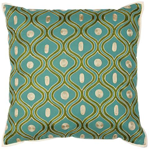 """Gramercy Teal and Gold 18"""" Square Decorative Pillow"""