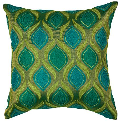 """Tribeca Teal and Green 18"""" Square Decorative Pillow"""