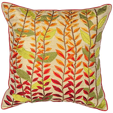 "Golden Glow Autumn Leaves 18"" Square Decorative Pillow"
