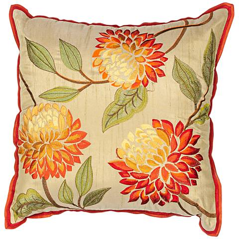 "Chrysanthemum Red 18"" Square Decorative Pillow"