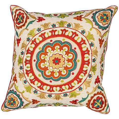 """Suzani Red Medallion 18"""" Square Decorative Pillow"""