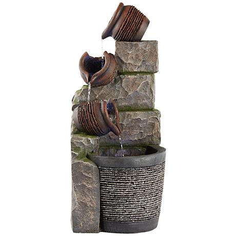 """Saltaire 29 3/4""""H Cascading Clay Pots LED Outdoor Fountain"""