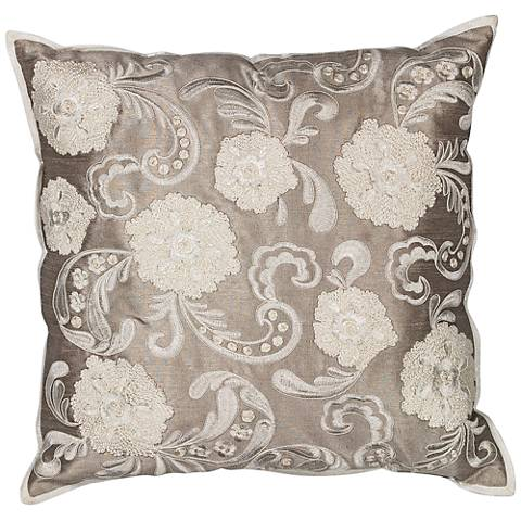 """Bellisima Silver 18"""" Square Floral Decorative Pillow"""