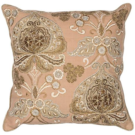 """Traditions Gold 18"""" Square Decorative Pillow"""