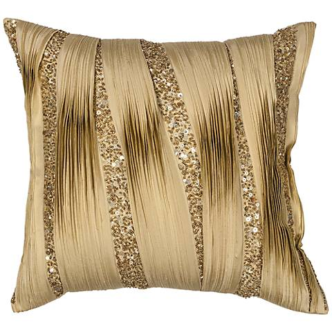 "Gold Ruffles 18"" Square Decorative Pillow"
