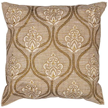 "Goldenrod 18"" Square Decorative Gold Damask Pillow"