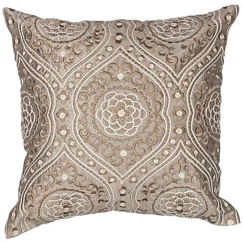 "Meddina Silver 18"" Square Decorative Damask Pillow"