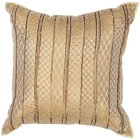 "Gold Sari Silk 18"" Square Decorative Pillow"