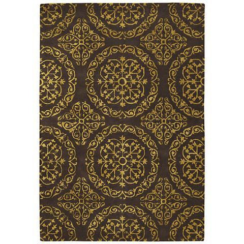 Chandra Satara Brown and Gold Wool Area Rug