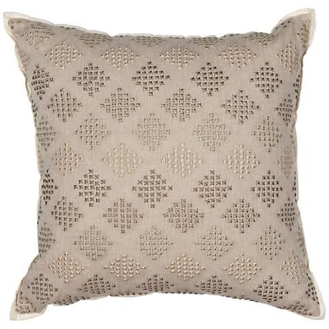 "Diamonds Taupe 18"" Square Decorative Pillow"