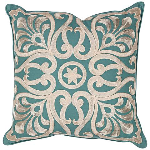 "Carrina Teal 18"" Square Decorative Damask Pillow"