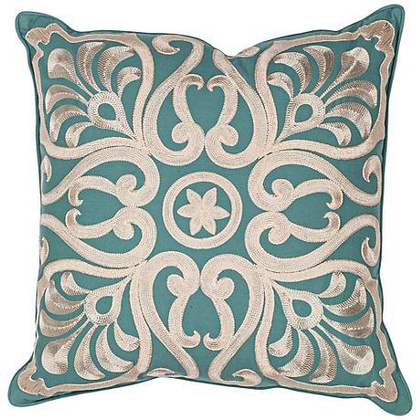 """Carrina Teal 18"""" Square Decorative Damask Pillow"""