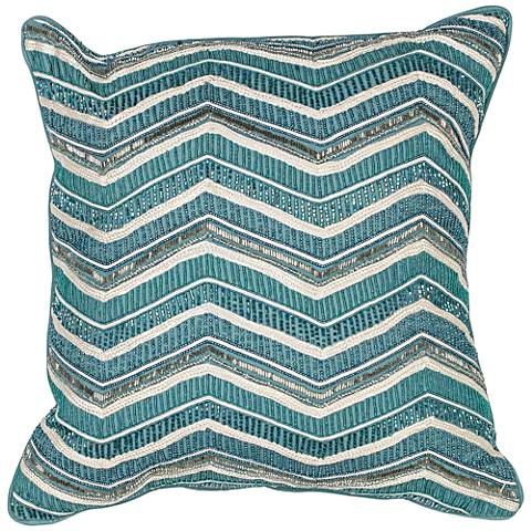 "Dorinne Teal Chevron 18"" Square Decorative Pillow"