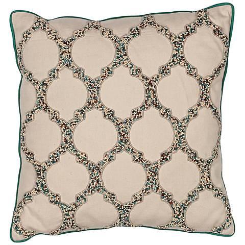 "Torelli Trefoil Beige 18"" Square Beaded Decorative Pillow"