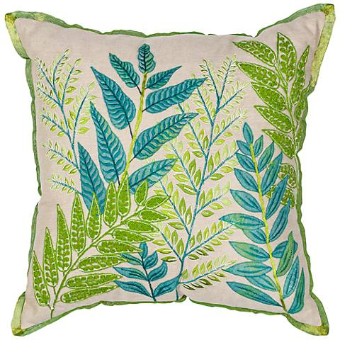 "Donny Osmond Home Garden Blue Green 18"" Square Pillow"