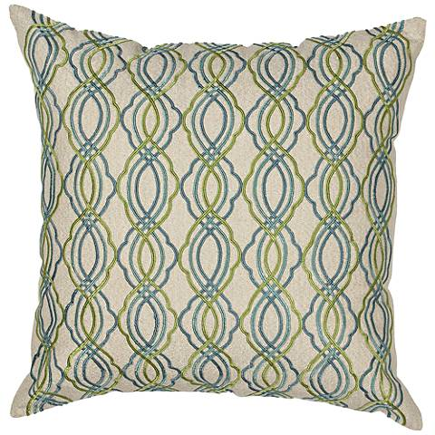 """Donny Osmond Home Waves Blue and Green 18"""" Square Pillow"""