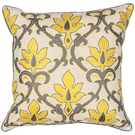 """Donny Osmond Home Sofitol Yellow Gray 18""""W Damask Pillow"""