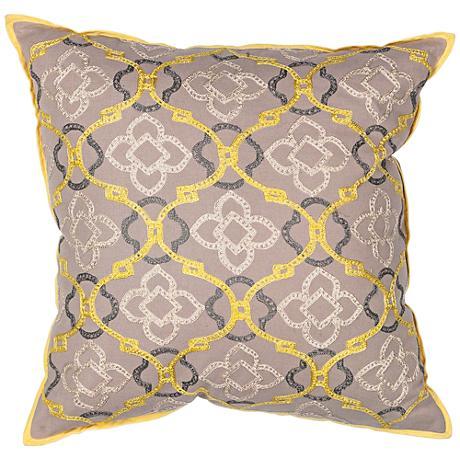 "Donny Osmond Linck Yellow Gray Medallion 18"" Square Pillow"