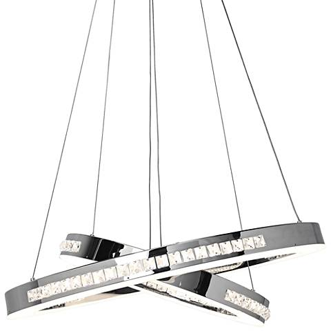 "Affluence 23 3/4"" Wide Chrome LED Dual Ring Pendant Light"