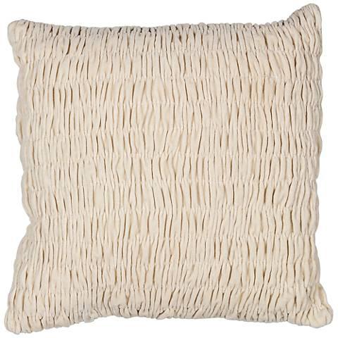 "Rouchee Ivory Velvet 18"" Square Decorative Pillow"