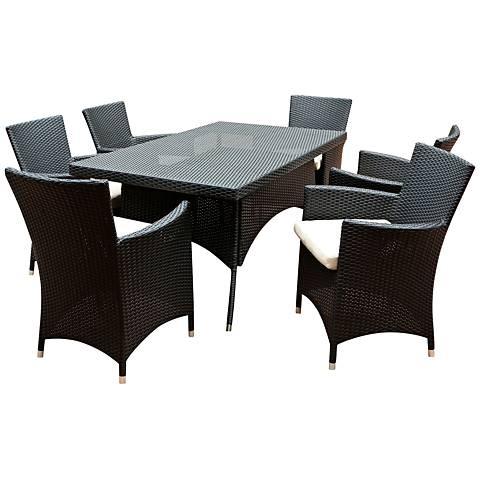 Charleston Outdoor Black Wicker 7-Piece Dining Set