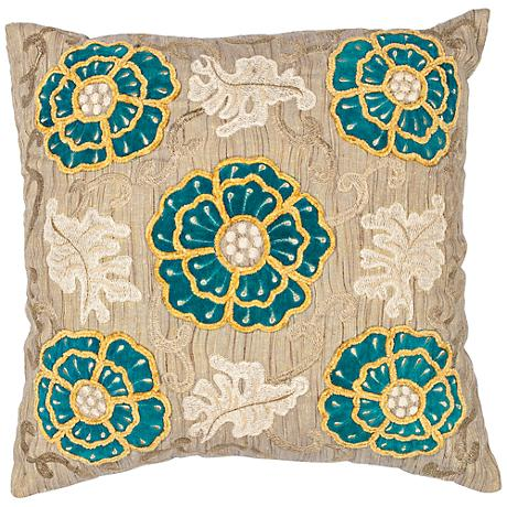 """Blooms Taupe Teal 18"""" Square Decorative Pillow"""