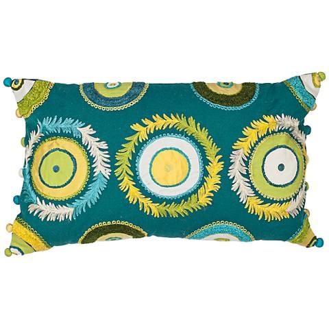 "Boho Circles Blue Green 20"" Wide Rectangle Throw Pillow"