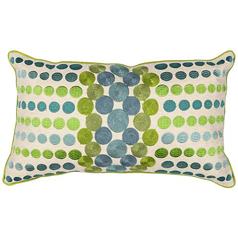 "Cary Circles Blue Green 20"" Wide Rectangle Throw Pillow"