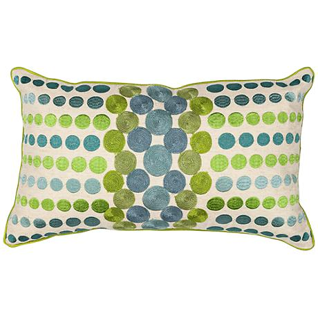 """Cary Circles Blue Green 20"""" Wide Rectangle Throw Pillow"""