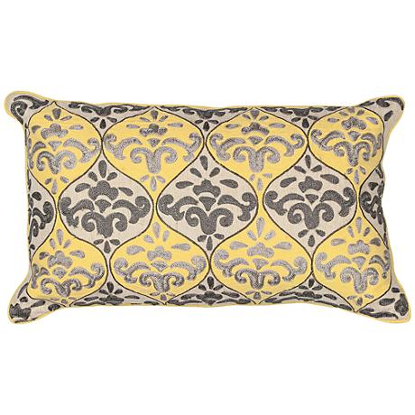 """Toire Yellow Gray 20"""" Wide Rectangle Damask Pillow"""