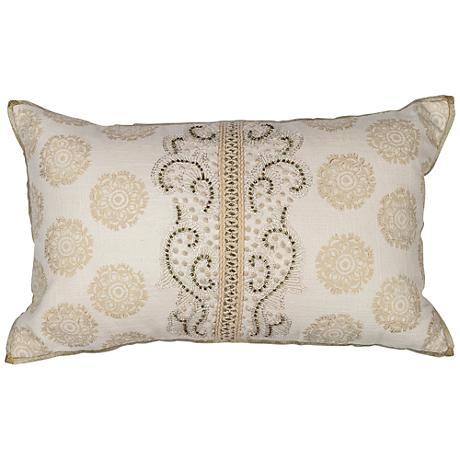 "Demitasse Ivory Damask 20"" Wide Rectangle Throw Pillow"