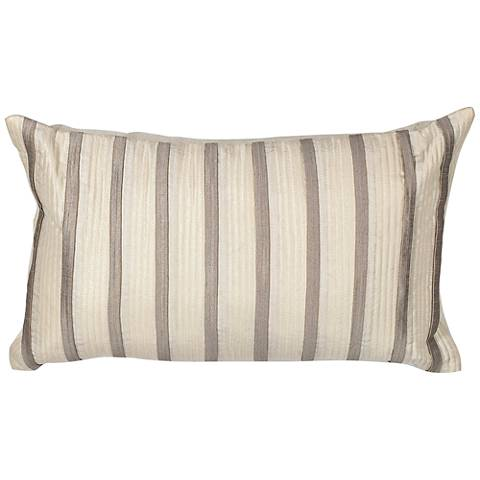 "Casi Ivory Gray Stripes 20"" Wide Throw Pillow"