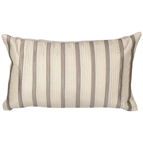 """Casi Ivory Gray Stripes 20"""" Wide Throw Pillow"""