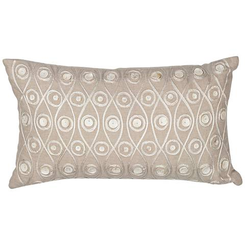 """Halie Waves Taupe 20"""" Wide Rectangle Throw Pillow"""