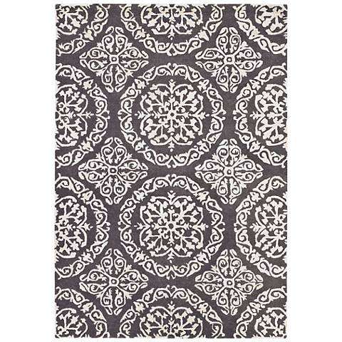 Chandra Satara Gray and Ivory Wool Area Rug