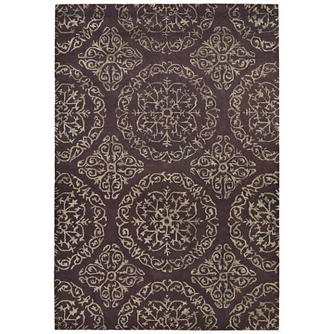"Chandra Satara 7'9""x10'6"" Brown and Green Wool Area Rug"