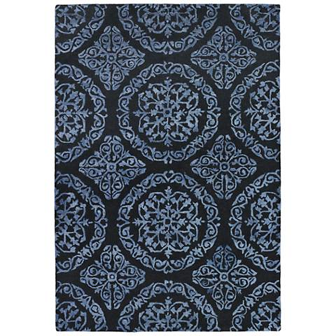 Chandra Satara Black and Blue Wool Area Rug