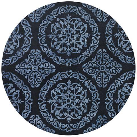 Chandra Satara Black and Blue Wool Area Rug